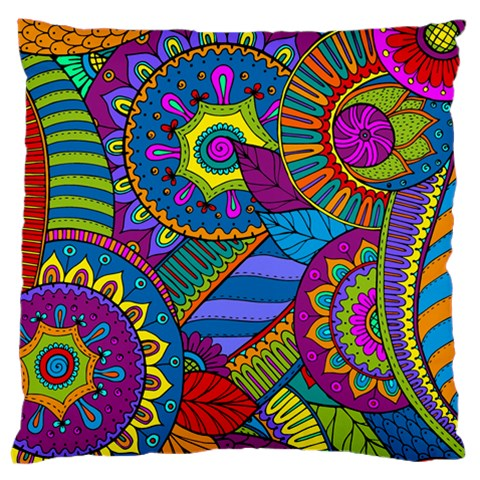 Pop Art Paisley Flowers Ornaments Multicolored Standard Flano Cushion Case (Two Sides)