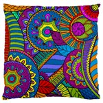 Pop Art Paisley Flowers Ornaments Multicolored Large Flano Cushion Case (Two Sides) Front