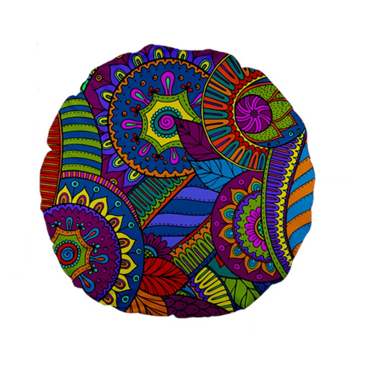 Pop Art Paisley Flowers Ornaments Multicolored Standard 15  Premium Flano Round Cushions
