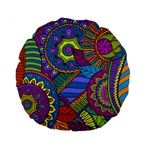 Pop Art Paisley Flowers Ornaments Multicolored Standard 15  Premium Flano Round Cushions Back