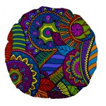 Pop Art Paisley Flowers Ornaments Multicolored Large 18  Premium Flano Round Cushions Front
