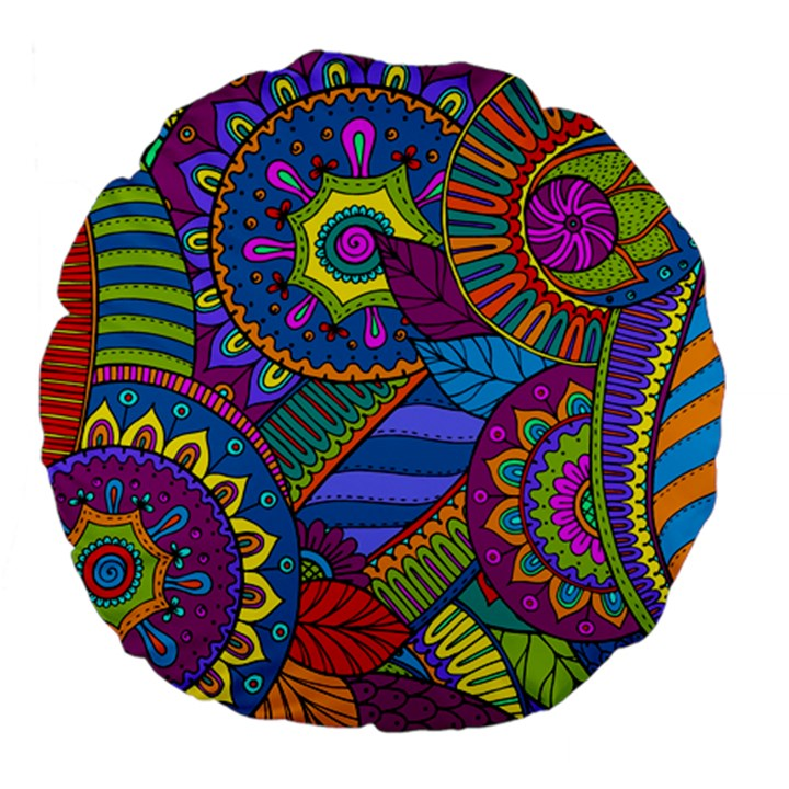 Pop Art Paisley Flowers Ornaments Multicolored Large 18  Premium Flano Round Cushions