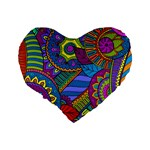 Pop Art Paisley Flowers Ornaments Multicolored Standard 16  Premium Flano Heart Shape Cushions Back