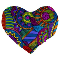 Pop Art Paisley Flowers Ornaments Multicolored Large 19  Premium Flano Heart Shape Cushions