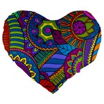 Pop Art Paisley Flowers Ornaments Multicolored Large 19  Premium Flano Heart Shape Cushions Front