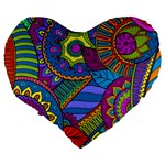 Pop Art Paisley Flowers Ornaments Multicolored Large 19  Premium Flano Heart Shape Cushions Back