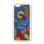 Pop Art Paisley Flowers Ornaments Multicolored Apple iPhone 6/6S White Enamel Case Front