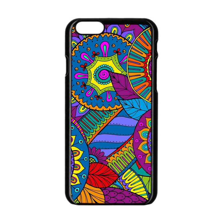 Pop Art Paisley Flowers Ornaments Multicolored Apple iPhone 6/6S Black Enamel Case