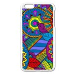 Pop Art Paisley Flowers Ornaments Multicolored Apple iPhone 6 Plus/6S Plus Enamel White Case Front