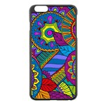 Pop Art Paisley Flowers Ornaments Multicolored Apple iPhone 6 Plus/6S Plus Black Enamel Case Front