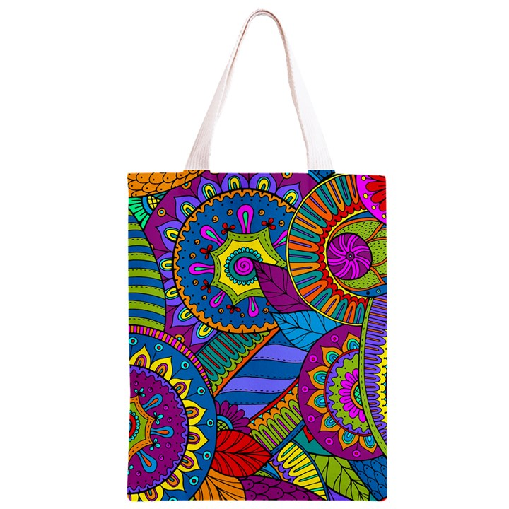 Pop Art Paisley Flowers Ornaments Multicolored Classic Light Tote Bag