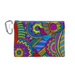 Pop Art Paisley Flowers Ornaments Multicolored Canvas Cosmetic Bag (M) Front