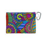 Pop Art Paisley Flowers Ornaments Multicolored Canvas Cosmetic Bag (M) Back