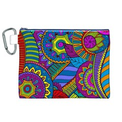 Pop Art Paisley Flowers Ornaments Multicolored Canvas Cosmetic Bag (xl)