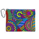 Pop Art Paisley Flowers Ornaments Multicolored Canvas Cosmetic Bag (XL) Front