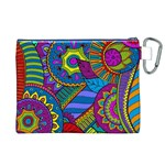 Pop Art Paisley Flowers Ornaments Multicolored Canvas Cosmetic Bag (XL) Back