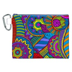 Pop Art Paisley Flowers Ornaments Multicolored Canvas Cosmetic Bag (xxl)
