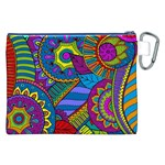 Pop Art Paisley Flowers Ornaments Multicolored Canvas Cosmetic Bag (XXL) Back