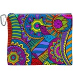 Pop Art Paisley Flowers Ornaments Multicolored Canvas Cosmetic Bag (XXXL) Front
