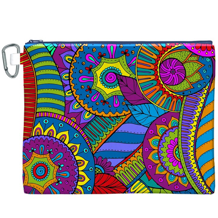 Pop Art Paisley Flowers Ornaments Multicolored Canvas Cosmetic Bag (XXXL)