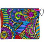 Pop Art Paisley Flowers Ornaments Multicolored Canvas Cosmetic Bag (XXXL) Back