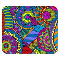Pop Art Paisley Flowers Ornaments Multicolored Double Sided Flano Blanket (Small)