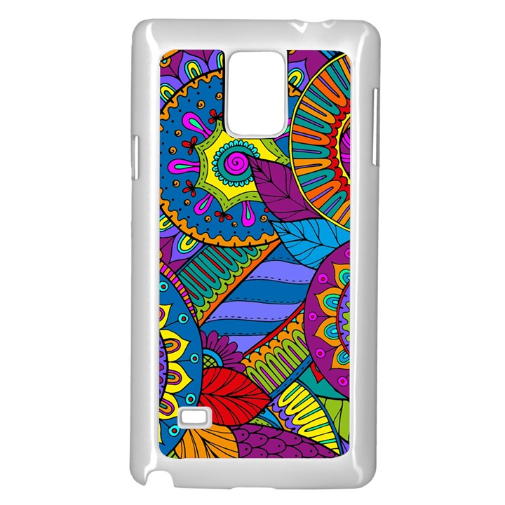 Pop Art Paisley Flowers Ornaments Multicolored Samsung Galaxy Note 4 Case (White)