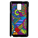 Pop Art Paisley Flowers Ornaments Multicolored Samsung Galaxy Note 4 Case (Black) Front