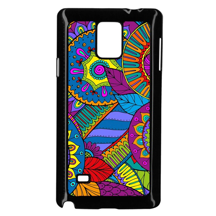 Pop Art Paisley Flowers Ornaments Multicolored Samsung Galaxy Note 4 Case (Black)