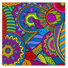 Pop Art Paisley Flowers Ornaments Multicolored Large Satin Scarf (square)