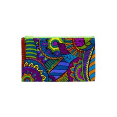 Pop Art Paisley Flowers Ornaments Multicolored Cosmetic Bag (xs)