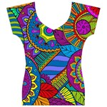 Pop Art Paisley Flowers Ornaments Multicolored Women s V-Neck Cap Sleeve Top Front