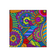 Pop Art Paisley Flowers Ornaments Multicolored Satin Bandana Scarf
