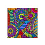Pop Art Paisley Flowers Ornaments Multicolored Satin Bandana Scarf Front