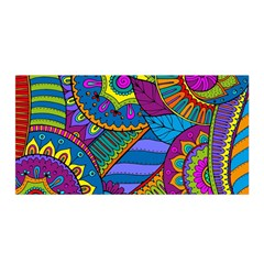 Pop Art Paisley Flowers Ornaments Multicolored Satin Wrap