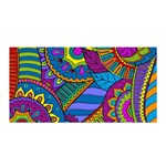 Pop Art Paisley Flowers Ornaments Multicolored Satin Wrap Front