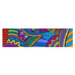 Pop Art Paisley Flowers Ornaments Multicolored Satin Scarf (Oblong)