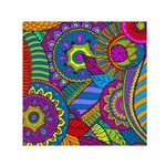 Pop Art Paisley Flowers Ornaments Multicolored Small Satin Scarf (Square) Front
