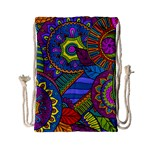 Pop Art Paisley Flowers Ornaments Multicolored Drawstring Bag (Small) Front