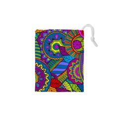 Pop Art Paisley Flowers Ornaments Multicolored Drawstring Pouches (XS)