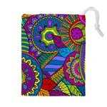 Pop Art Paisley Flowers Ornaments Multicolored Drawstring Pouches (Extra Large) Front