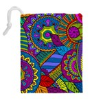 Pop Art Paisley Flowers Ornaments Multicolored Drawstring Pouches (Extra Large) Back