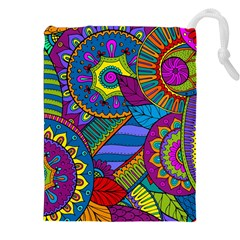 Pop Art Paisley Flowers Ornaments Multicolored Drawstring Pouches (xxl)