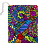 Pop Art Paisley Flowers Ornaments Multicolored Drawstring Pouches (XXL) Back