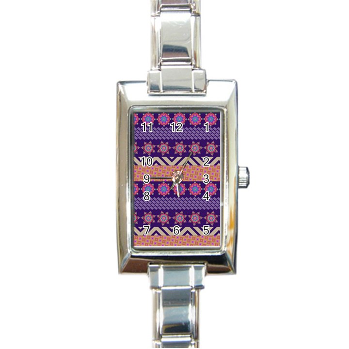Colorful Winter Pattern Rectangle Italian Charm Watch