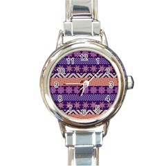 Colorful Winter Pattern Round Italian Charm Watch
