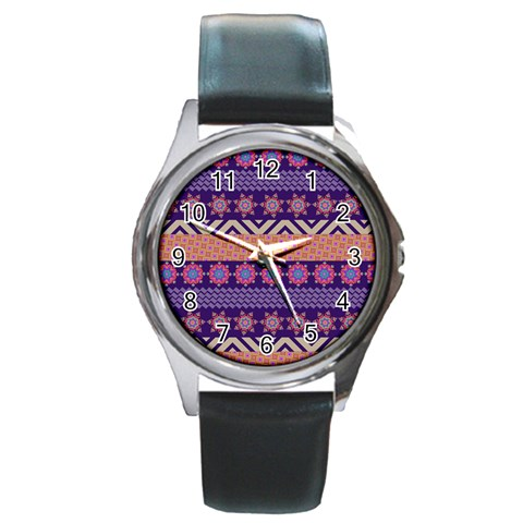 Colorful Winter Pattern Round Metal Watch