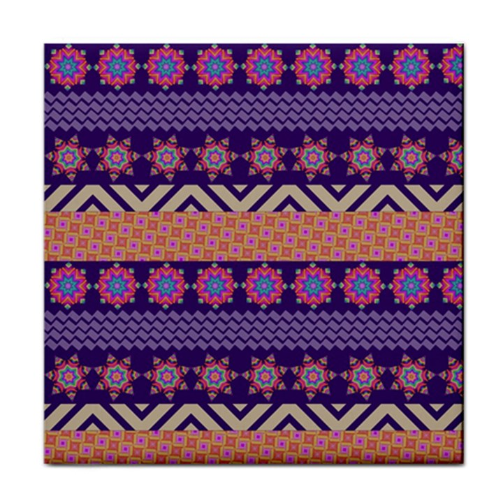 Colorful Winter Pattern Tile Coasters
