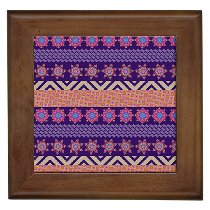 Colorful Winter Pattern Framed Tiles