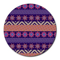 Colorful Winter Pattern Round Mousepads